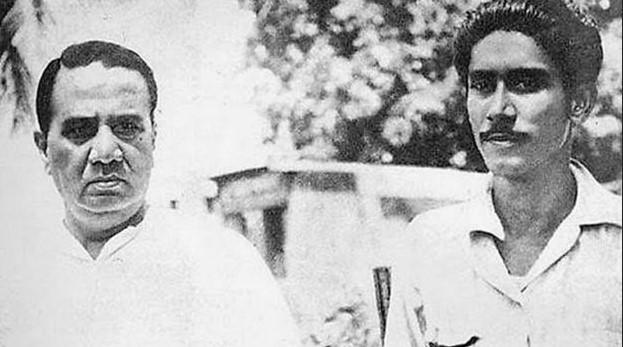 রাজনৈতিক জীবনে শেখ মুজিবকে গভীরভাবে প্রভাবিত করেছিলেন হোসেন শহীদ সোহরাওয়ার্দী। (ছবি ১৯৪৯)