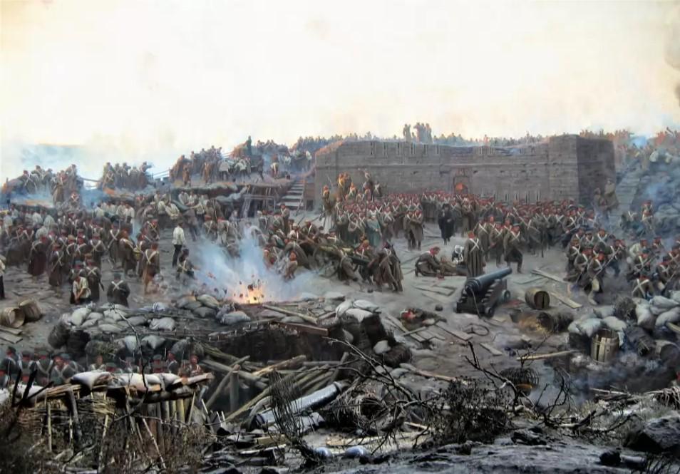 ১৮৫৩ থেকে ১৮৫৬ সালের মধ্যে চলা ক্রিমিয়ার যুদ্ধ পাটকে গুরুত্বপূর্ণ করে তুলেছিল। শিল্পী ফন্স হুবোর আঁকা চিত্রকর্ম 'দ্য সিজ অব সিভাসটোপল' (১৯০৪)। ছবি: উইকিমিডিয়া কমনস