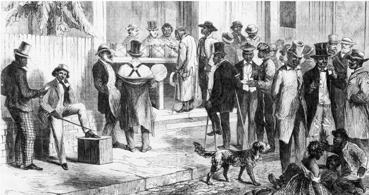 নিউ অরলিন্স, ১৮৬৭: এই এনগ্রেভ করা চিত্রে দেখা যাচ্ছে দাসত্ব থেকে মুক্ত কৃষ্ণাঙ্গ মানুষেরা নির্বাচনে ভোট দিচ্ছে